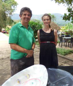 Andrew Weeks & Kathy Burgoine with the BabySaver Tray in Uganda